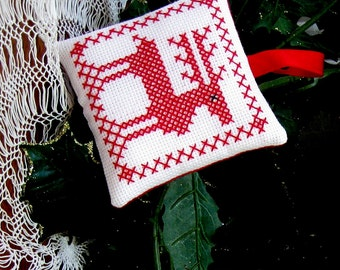 Reindeer Christmas Ornament Country Christmas Red Work Hand Stitched Holiday Decoration