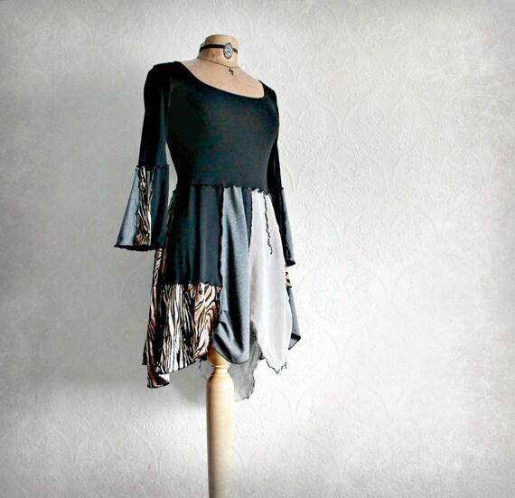 Black Boho Top Upcycled Clothing Gypsy Tunic Retro Bell