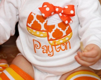 Applique Candy Corn Bodysuit or Ruffle Shirt For Little Girl--Shirt Only