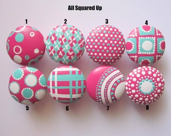 Set of 4-Bright Pink-Aqua-White Drawer Knobs- Mix and Match-You choose which designs