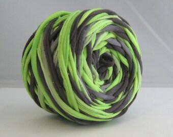 T-Shirt Yarn - Black Neon Green- 60 Yards - T Shirt Yarn - Recycled Yarn - Cotton Yarn - Fabric Yarn - Chunky Yarn - Upcycled Yarn