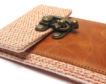 iPhone 6 / 7 / 7 Plus wallet  - orange and cream