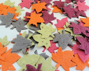 Fall Leaf Seed Paper DIY Wedding Favors Table Decorations