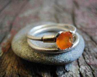 Carnelian rings set, Engagement Rings Set, Stacking Rings, Vintage Inspired Classic Clear Carnelian engagement set , Sterling Silver Rings