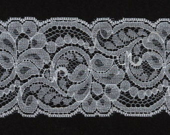 "2"" wide White flat lace trim 22 yds   (3371)"