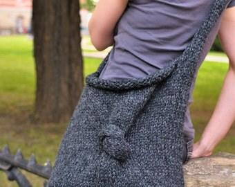 Knit Knot Bag UNISEX hand knit shoulder bag knitted hobo crossbody messenger bag school bag in charcoal or CHOOSE your COLOR