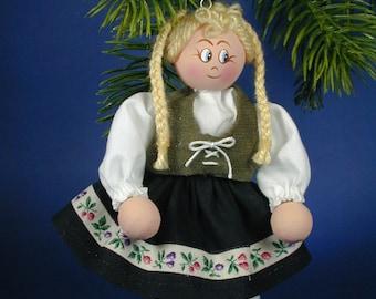 German Girl Clothespin Ornament