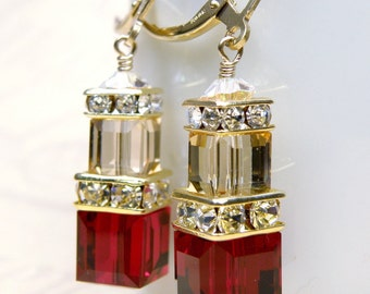 Garnet Crystal Earrings, Red Swarovski Cube, Champagne, Dangle, Bridesmaid Wedding Handmade Jewelry, January Birthday, Birthstone
