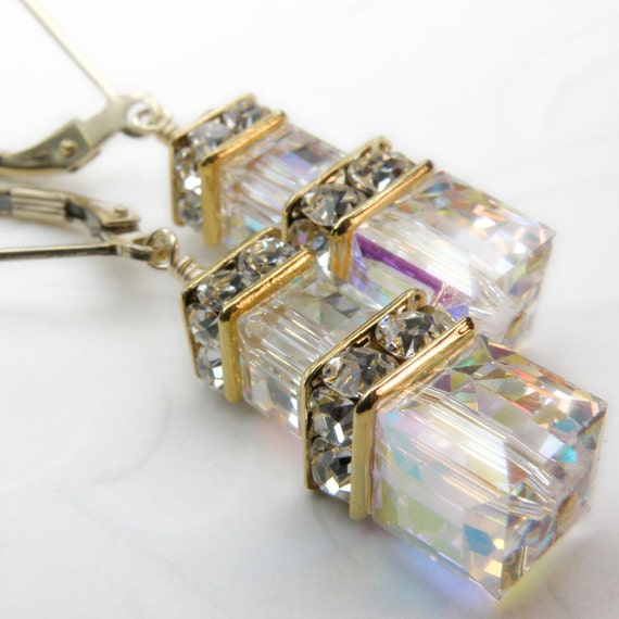 Wedding Crystal Earrings, Swarovski Cube, Gold Filled, Bridal Accessory, Bride Earrings, Bridesmaid Jewelry, Clear Crystal, Ready To Ship