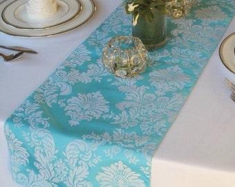Pool Blue Light Turquoise Flocked Damask Table Runner Taffeta Wedding Table  Runner