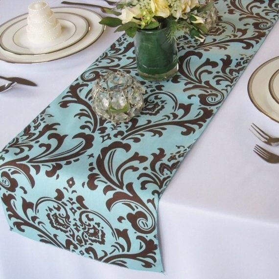 Traditions Blue and Brown Damask Table Runner Wedding Table Runner