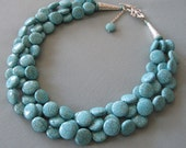 Blue Multi Strand Necklace.Chunky Turquoise Statement Necklace.Blue Turquoise Bridal Jewelry.