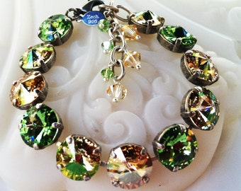 Peridot Green Golden Shadow with Crystals from Swarovski Bracelet, Rivoli Crystal Bracelet