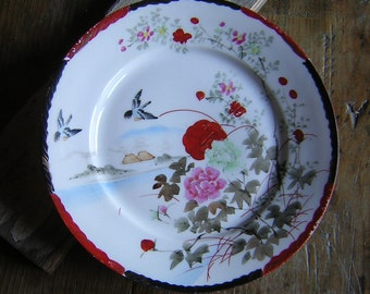 Vintage Asian Plate with hand applied gold accents