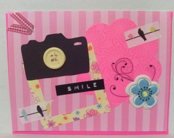 Bright Pink Camera Smile Card