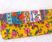 Vintage Bright Floral Fabric,  Multi Purpose Clutch Purse, Yellow, Flower Power, Vintage Fabric Clutch, Make up Bag. Retro, Accessoies