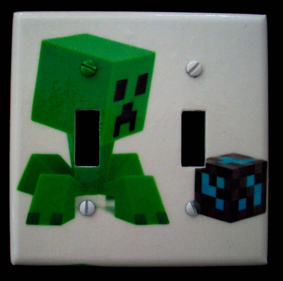 Minecraft Inspired Creeper Double Light Switch Cover Boys