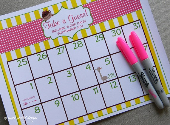 ... Due Date Calendar // Baby Shower Game // Guess the Date on Etsy