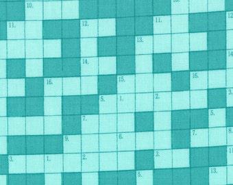 SUMMER SALE - Bungle Jungle - Crosswords in Aqua - 1 Yard - SKU 39503 12 - by Tim and Beck for Moda Fabrics