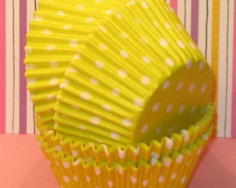 Sunshine Yellow Polka Dot Cupcake Liners   (45)