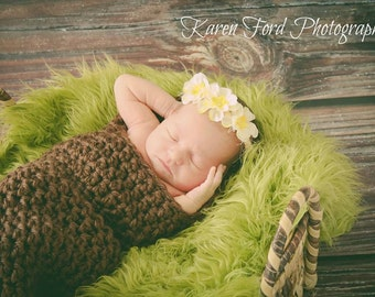 Brown Newborn Wrap Blanket Hooded Cocoon Bunting Photo Prop Baby MADE TO ORDER Baby Shower Gift