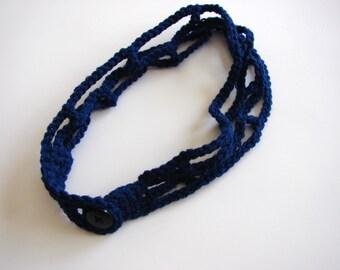 Navy Blue Boho Chic Headband,  Crochet Head Band ,Trellis Adjustable Hairband, MADE TO ORDER