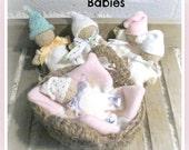 Bundle Babies, Basket and Blanket, Amigurumi  Pattern Knit  Crochet Sewing
