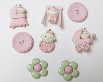 Baby Fun Girl Buttons  Set of 8 Pieces