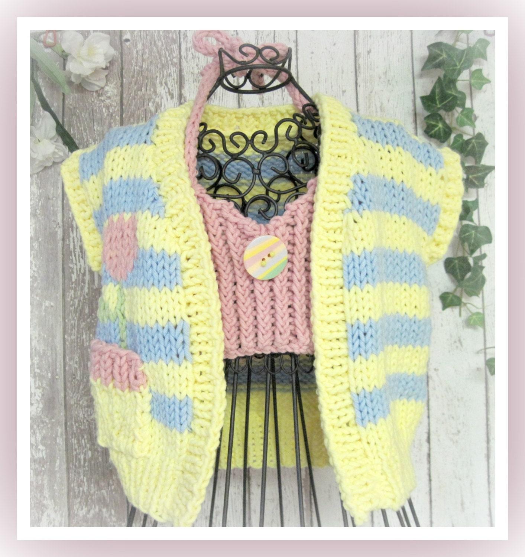Knitting Pattern Child Flower Sleeveless Cardigan with Halter