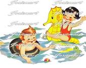 Vintage Digital Download Boy and Girl Swimming Vintage Image Collage Large JPG and PNG