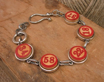 Vintage Game Piece Bracelet - Upcycled Red Wooden Lotto Number Pieces Composition Bracelet - Fun, Quirky, Unique