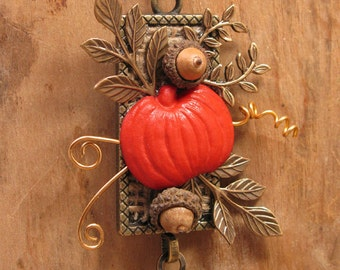 Fall Themed Upcycled Necklace - Pumpkin Necklace - Button Jewelry - Mixed Media Assemblage - Long Length Tassel Necklace
