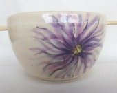 Small Purple Aster Noodle Rice Pottery Bowls Pottery Noodle Bowls Ceramic Rice Bowl, Stoneware Chopstick Bowl, Sushi Rice Bowl
