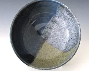 Small Serving Bowl. White Gloss. Blue & Black. Indigo. Cobalt. Light Blue. Charcoal Gray.