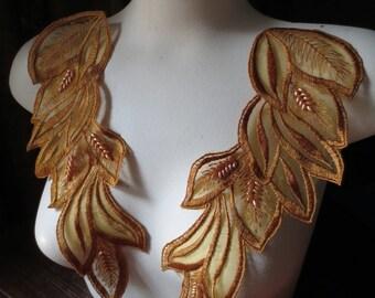 Beaded Lace Applique Pair in Saffron Embroidered Lace  PR 151saffron