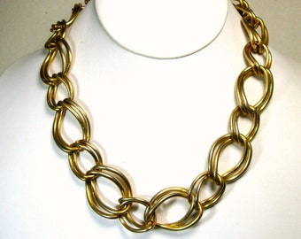 Vintage Chunky Gold Chain Necklace, Industrial Punk, Dramatic BIG Double Chain Around Your Throat., 1980s
