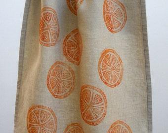 Blood Orange Linen Tea Towel