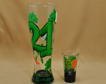 Shot and Beer Glass Set 21st Birthday Gift Hand Painted