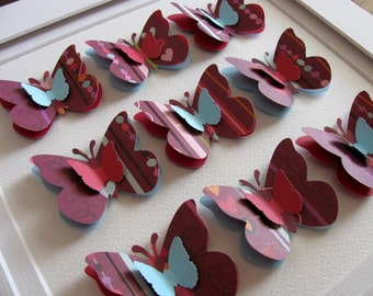 INVENTORY CLEARANCE 3D Layered Butterfly Art. Burgundy. Seafoam Blue. Plum. Light Pink. 8x8 inches