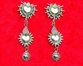 E137 Santa Rosa Sacred Heart the Mesilla Burning Hearts and Taos Sacred Heart Sterling Silver Southwestern Jewelry Earrings