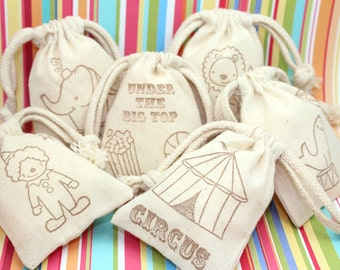 Big Top Circus Favor Bags (3x4 or 4x6) - Set of 12 - Baby Shower favors, birthday favors, weddings