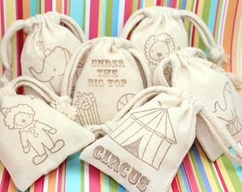 Handstamped Big Top Circus Muslin Favor Bags Set of 12 - Baby Shower favors, birthday favors, weddings