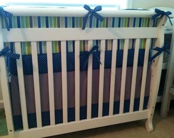 Ready to Ship Mini Crib Bedding Set Blue Aqua and Gray