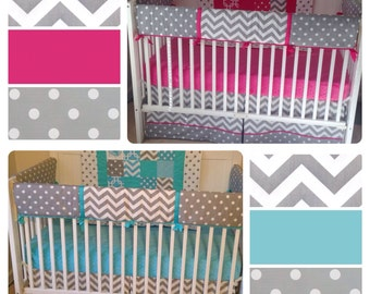 DEPOSIT Bumperless Crib Bedding Set Girl Boy Twins Fuchsia Aqua Gray Complete Set