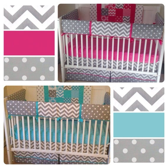 deposit bumperless crib bedding set girl boy twins fuchsia. Black Bedroom Furniture Sets. Home Design Ideas