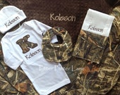 Baby Boy Gift Set - Personalized Layette Gown, Hat, Burp Cloth, Blanket  with Bib - RealTree MAX 4 HD