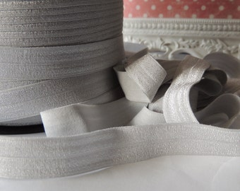 "5/8"" Inch Fold Over Elastic - 5 Yards of Light Silver FOE"