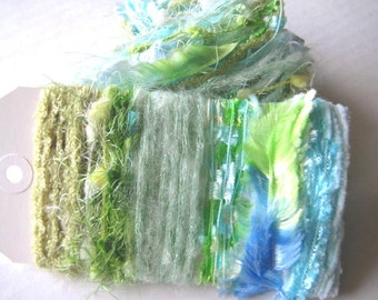 CARIBBEAN SEAS Specialty Yarn Embellishment Bundle - Scrapbooking, Altered Arts, Jewelry - 5 or more bundles for 10% discount
