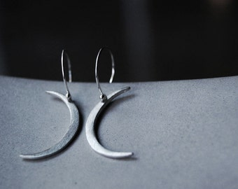 Modern Crescent Moon Earrings- Hand cut brushed sterling silver moon shapes