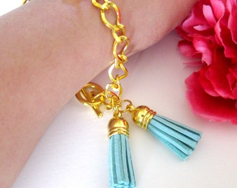 double tassel bracelet on gold chain- pick your color - arm candy - friendship bracelet - suede leather tassel - tassel charm - gold jewelry